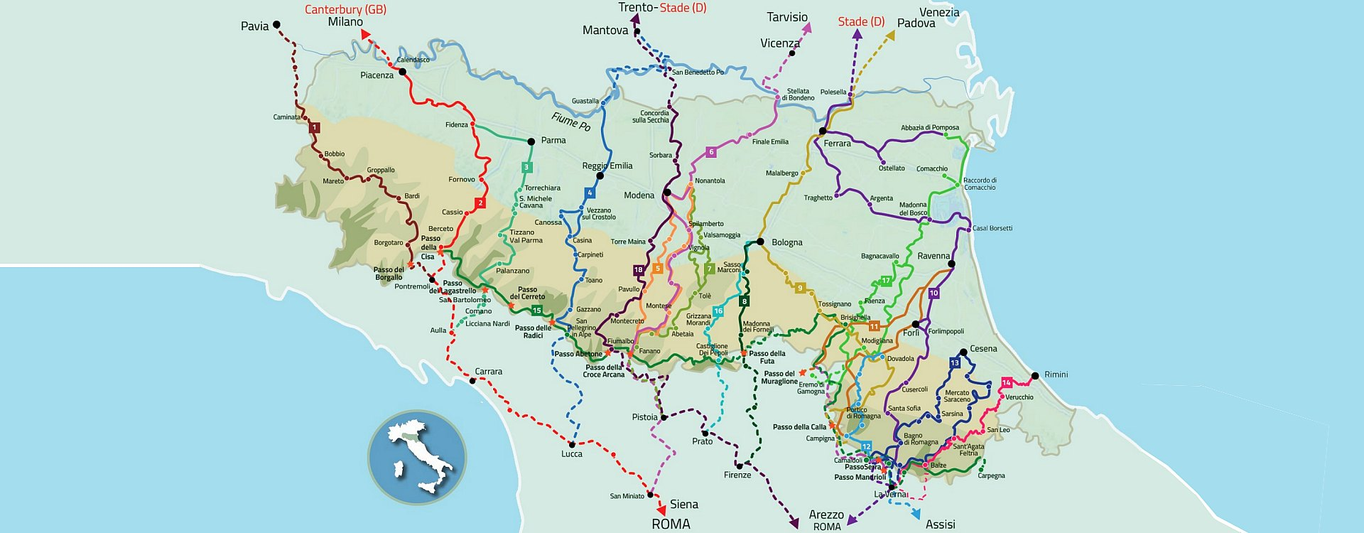 Cartina Emilia Toscana.Cammini Emilia Romagna 18 Itinerari Tra Trekking E Spiritualita Travel Emilia Romagna
