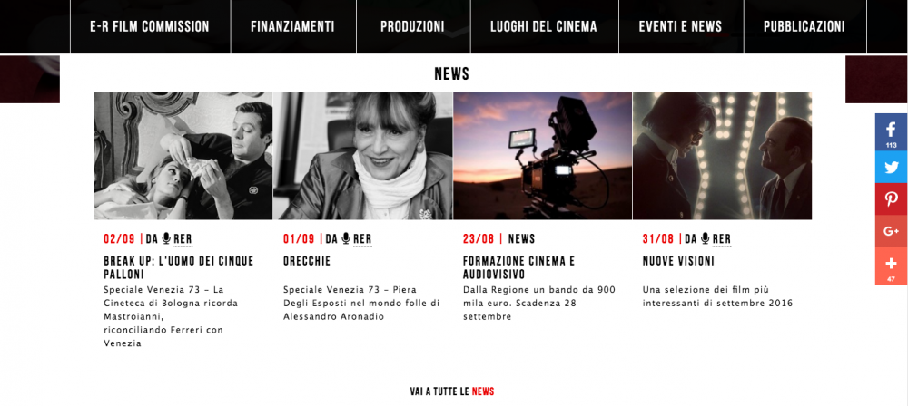 Sezione news del sito www.emiliaromagnacreativa.it/cinema