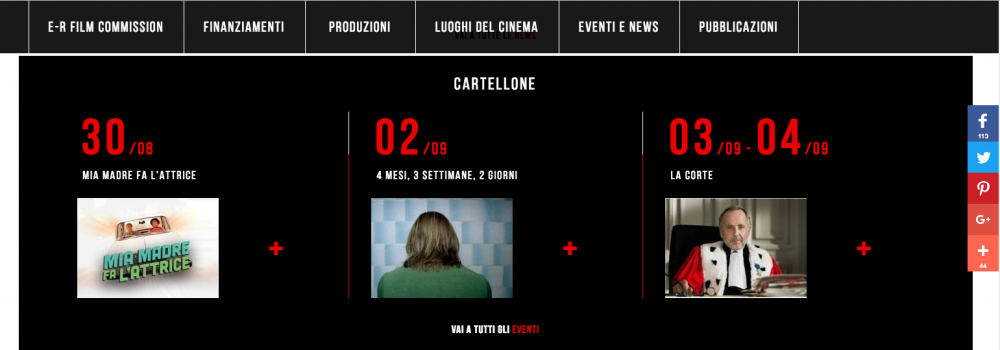 sezione cartellone del sito www.emiliaromagnacreativa.it/cinema