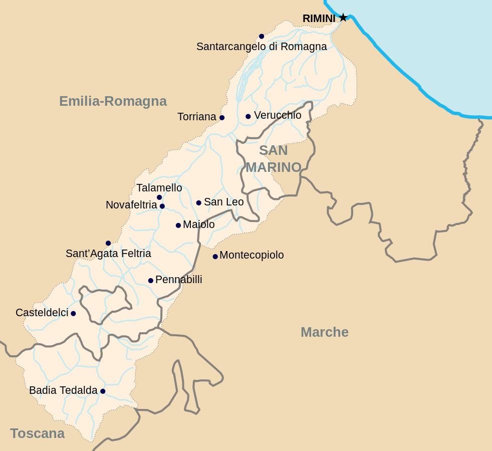 Mappa della Valmarecchia @Erinaceus via Wikipedia