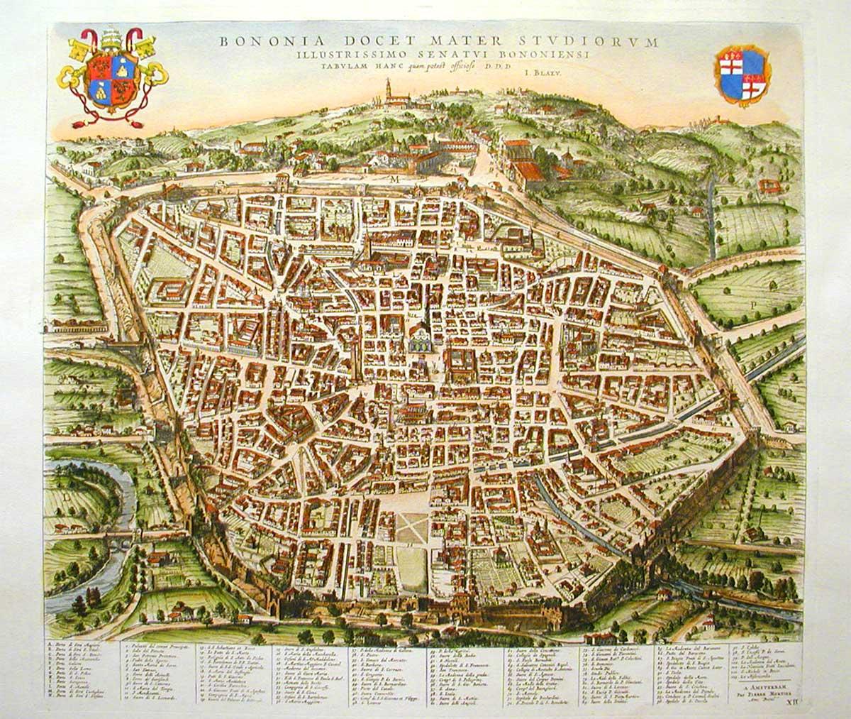 Mappa di Bologna | Foto © Johannes Blaeu, via Wikipedia
