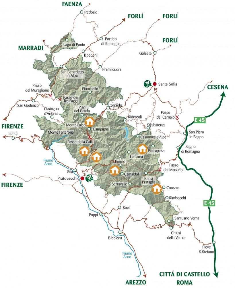 cartina foreste casentinesi