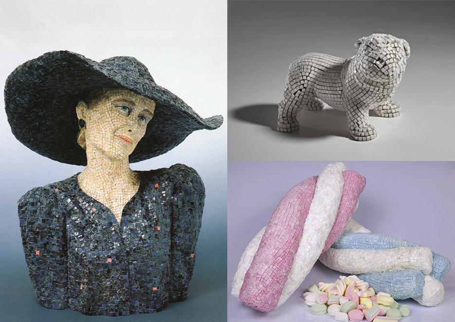 Da sinistra: 4 - Athos Ongaro, Dama o Eleonora (1981) | A destra: (in alto) Andrea Salvatori, Senza titolo (2017) - (In basso) Roberta Grasso, 25 euro-etto (2011)
