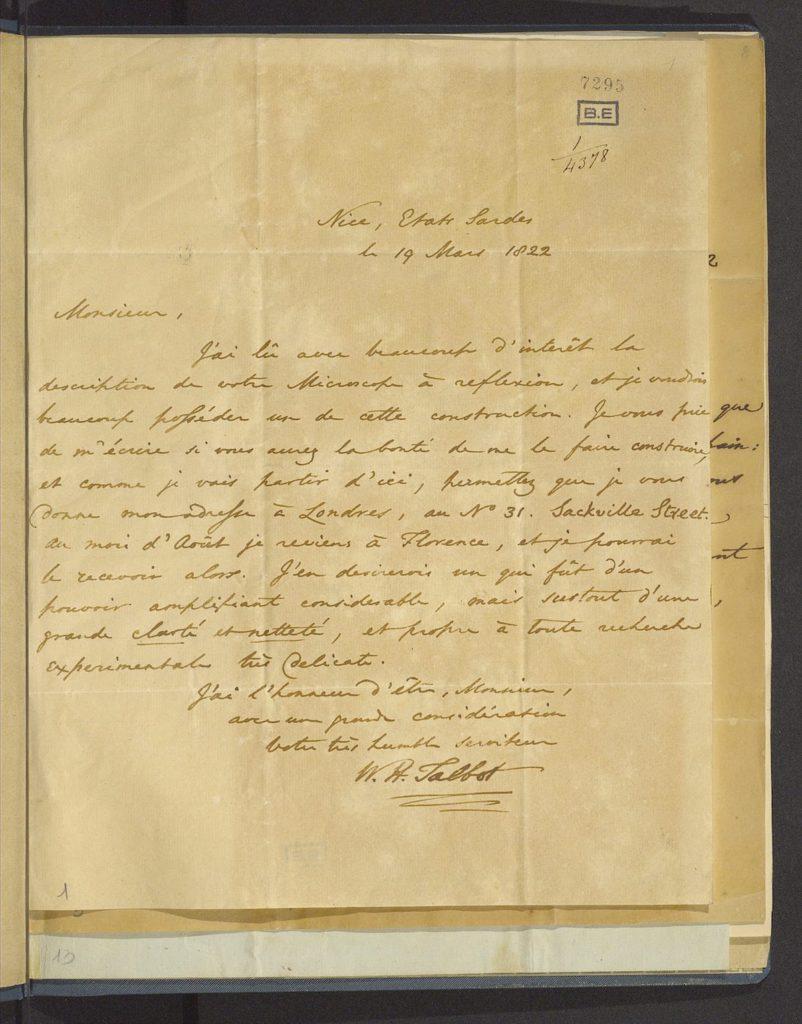 William Henry Fox Talbot, Lettera in lingua francese indirizzata a Giovanni Battista Amici, 19 marzo 1822, Modena, Biblioteca Estense Universitaria