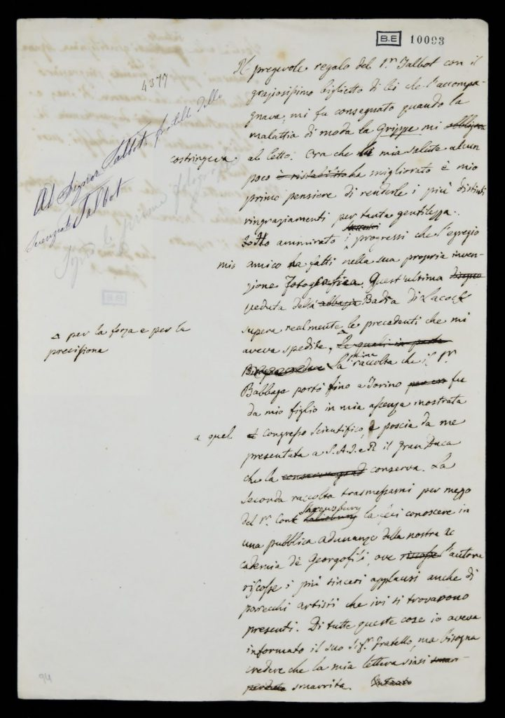 Giovanni Battista Amici, Minuta autografa, post febbraio 1842, Modena, Biblioteca Estense Universitaria