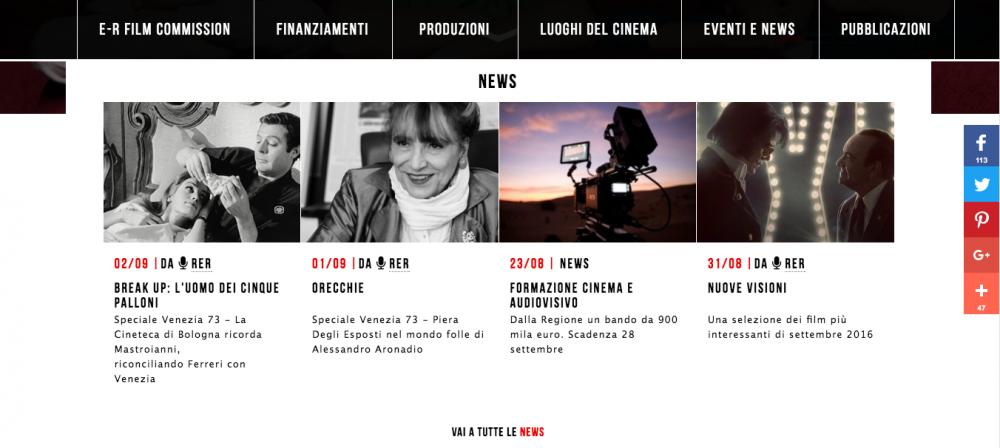 Sezione news del sito www.emiliaromagnacreativa.it/cinema