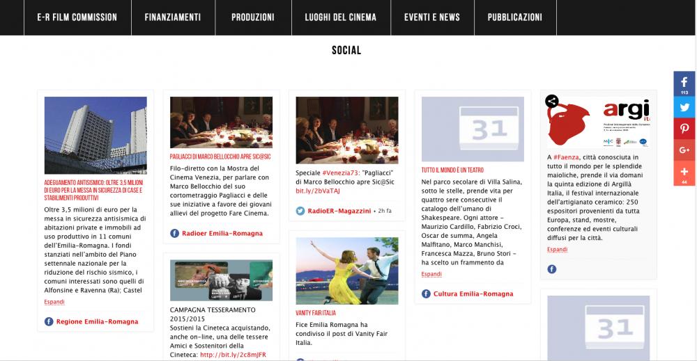 social wall del sito www.emiliaromagnacreativa.it/cinema