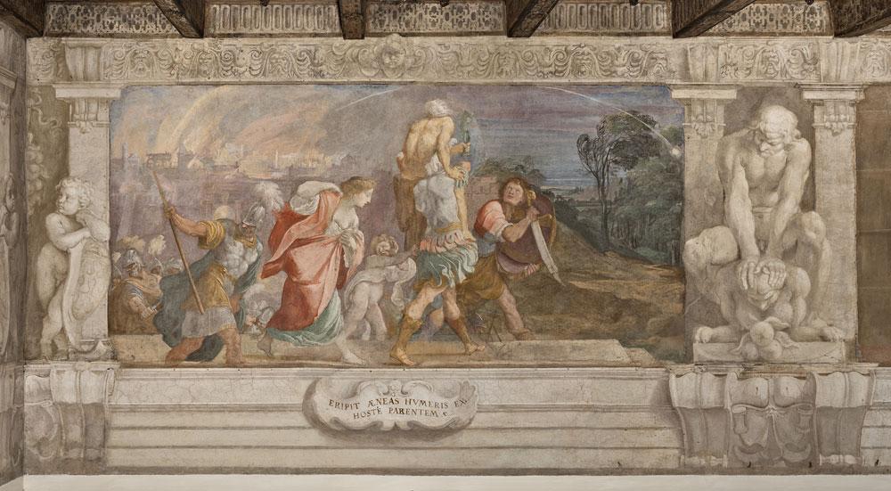 Bologna, Fregio dei Carraccia a Palazzo Fava fuga-enea-troia