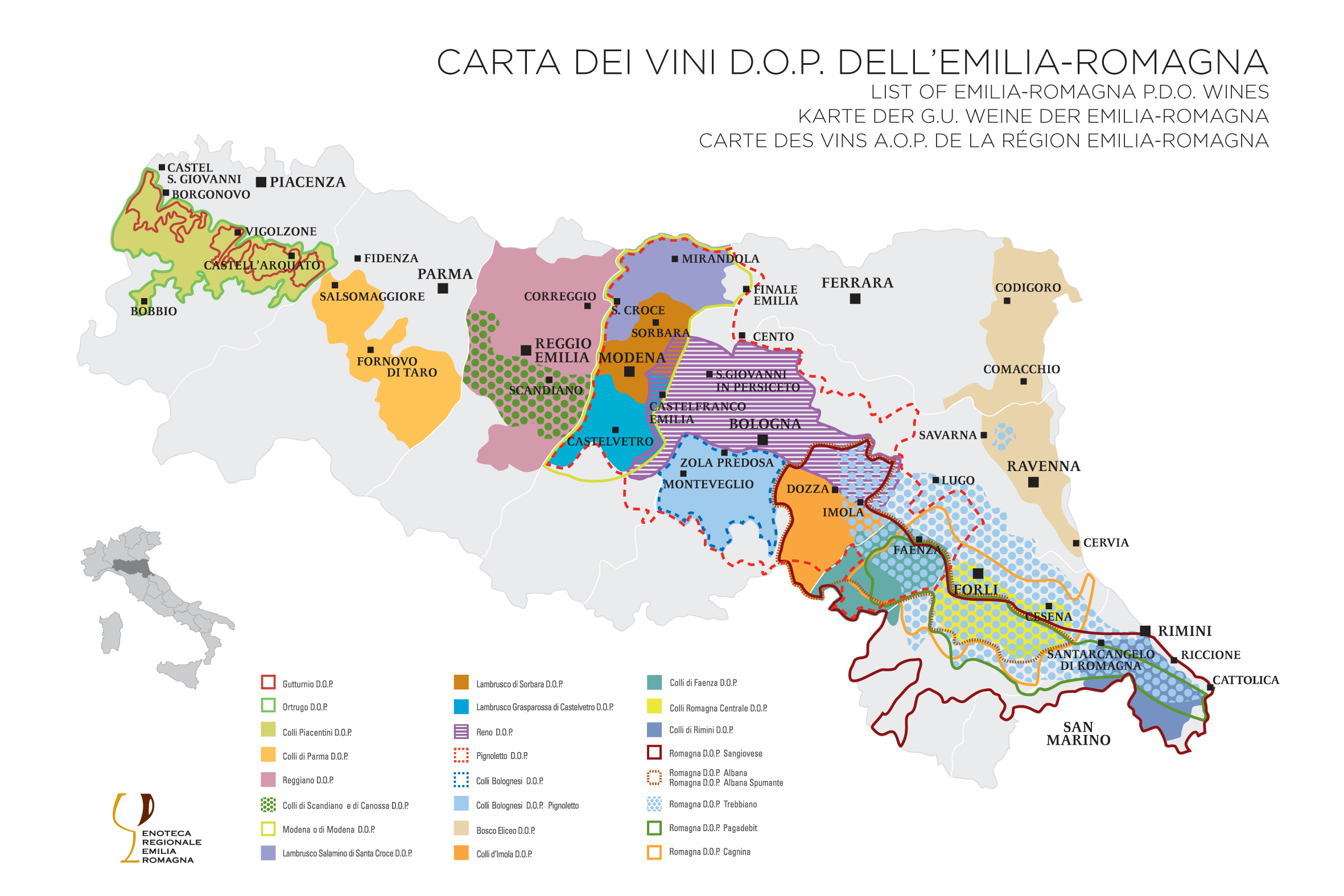 Enoteca Emilia Romagna, DOP wines map