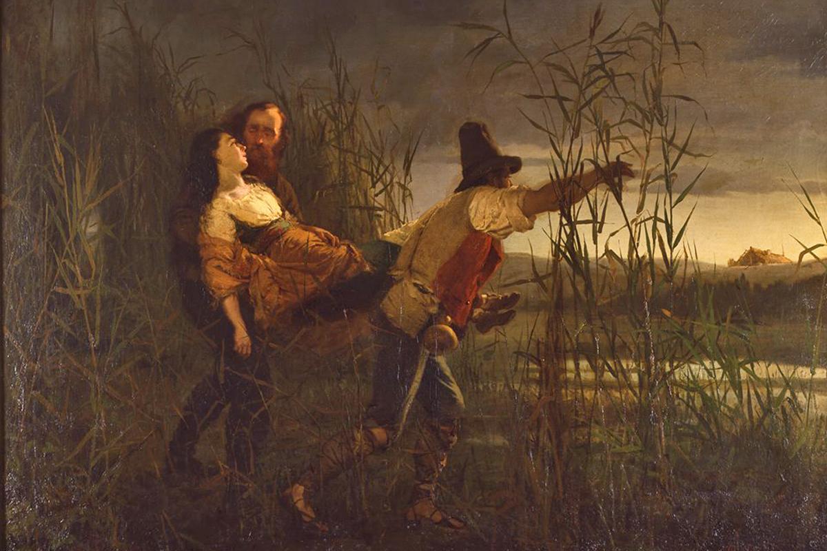 Garibaldi and Major Leggero carries the body of Anita dying (Pietro Bouvier)