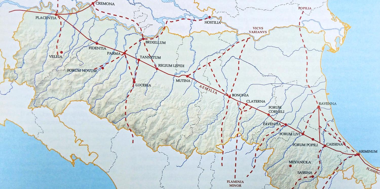 Il percorso della Via Aemilia attraverso l'Emilia Romagna | Immagine tratta da www.3d-virtualmuseum.it