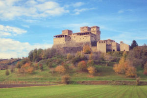 The Castle of Torrechiara (Parma, Italy), the fortress with a frescoed heart