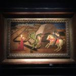 Paolo Uccello San Giorgio e il drago 1440, tempera su tavola Parigi, Musée Jacquemart-André, Institut de France In questa tavola regna un'atmosfera da favola, con le figure stilizzate (la principessa è composta, il cavaliere infilza il drago senza sforzo) e una costruzione spaziale essenziale. In nuce i temi ariosteschi: il cavaliere è senza nimbo ma indossa la croce di paladino cristiano e salva le fanciulle dai mostri.