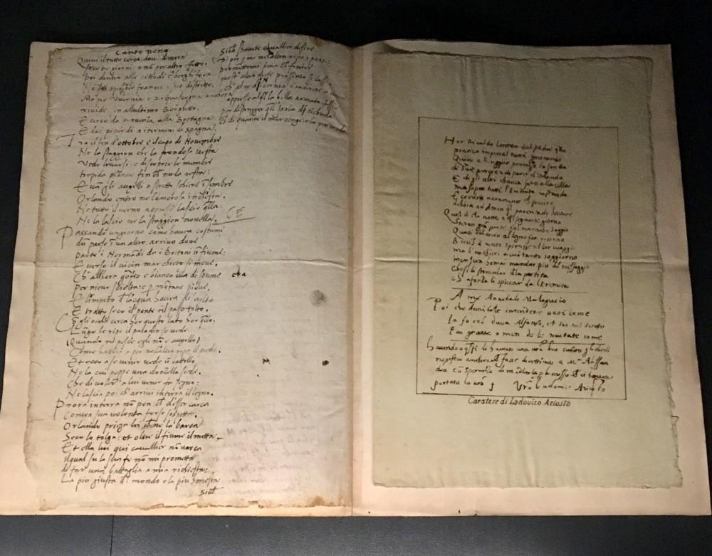 Ludovico Ariosto Frammento manoscritto autografodell'Orlando furioso Milano, Veneranda BibliotecaAmbrosiana