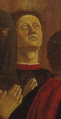 Dettaglio dal Polittico della Misericordia (1444-1464) con presunto autoritratto di Piero