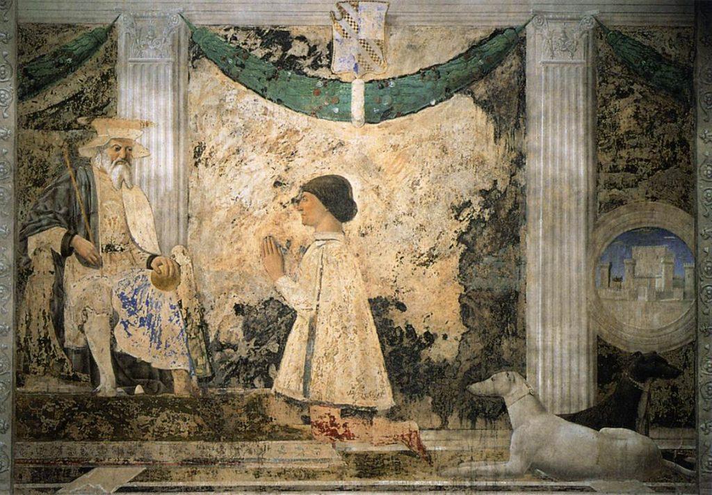 Piero della Francesca, Sigismondo Pandolfo Malatesta in prayer in front of St. Sigismund (Malatesta Temple, Rimini)