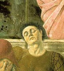 Dettaglio dalla Resurrezione (1465) con presunto autoritratto di Piero