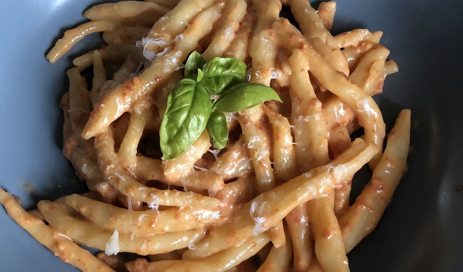 "Home made Strozzapreti, literally ""priest-strangler"" pasta"