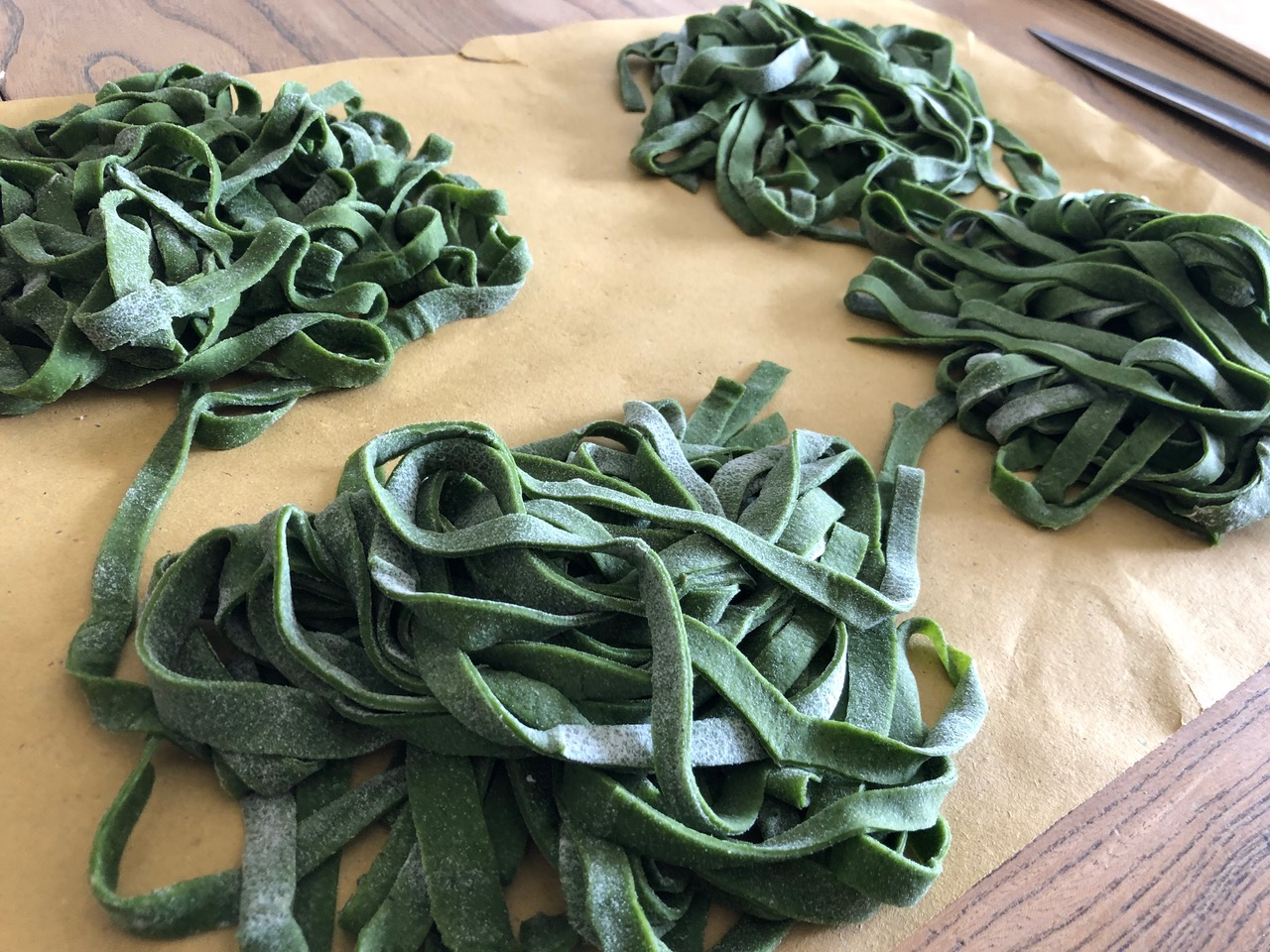 Homemade Tagliatelle with Nettles