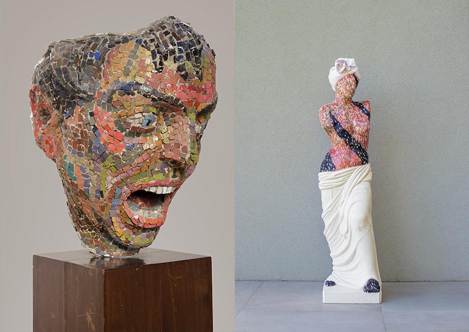 From the left: Mirko Basaldella, Furore (1944)   From the right:Enrica Borghi, Venere (2016)