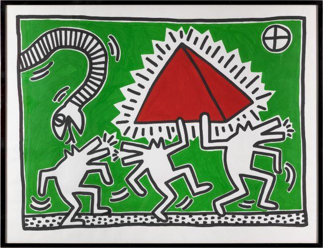 reggio-emilia-mostra-what-a-wonderful-world- Keith Haring, Untitled (Egypt), 1982, acrilico su carta, 100x130 cm, Milano, Collezione Consolandi © Roberto Marossi