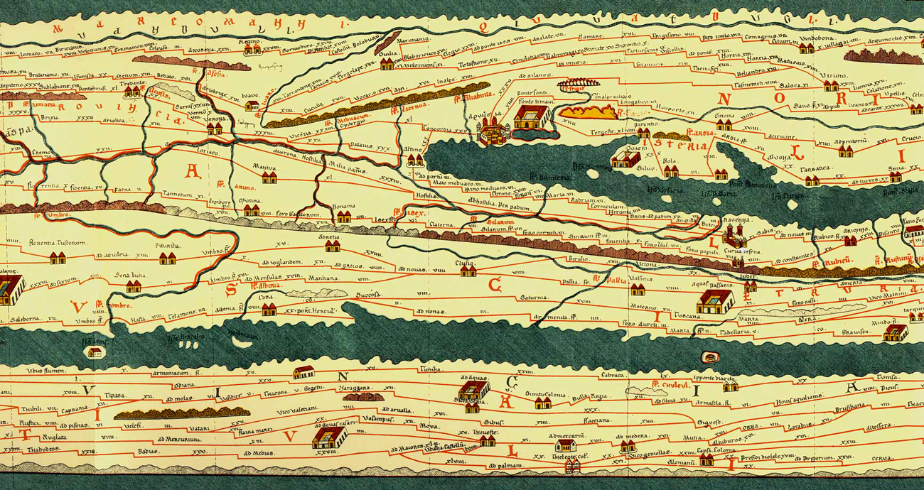 The Via Aemilia as it appears in the Tabula Peutingeriana, a medieval copy of a map of the Roman Empire (4th century AD)