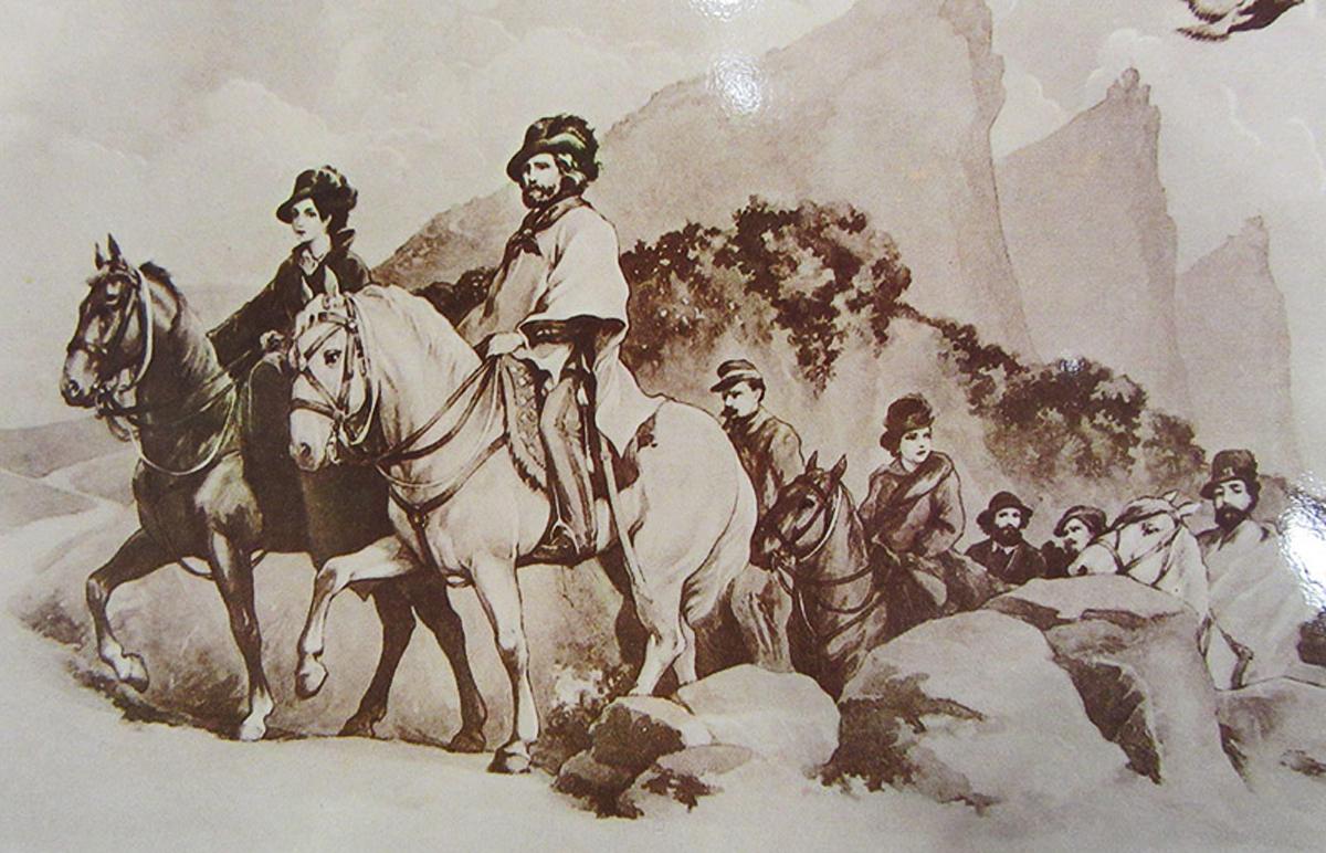 Giuseppe and Anita Garibaldi seek refuge at Republic of San Marino in the 1849